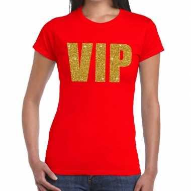 Vip glitter goud t shirt rood dames