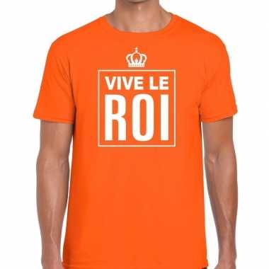 Vive le roi franse tekst shirt oranje heren