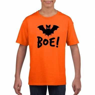 Vleermuis halloween t shirt oranje jongens meisjes