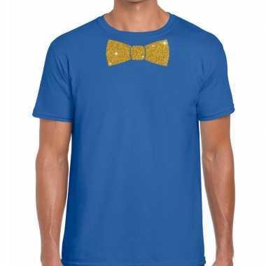 Vlinderdas t shirt blauw glitter das heren