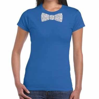 Vlinderdas t shirt blauw zilveren glitter strikje dames