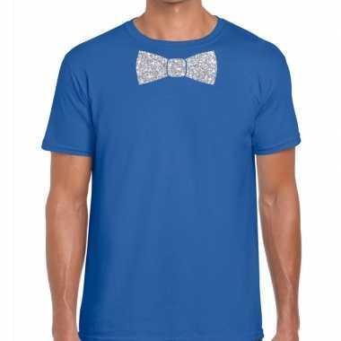 Vlinderdas t shirt blauw zilveren glitter strikje heren