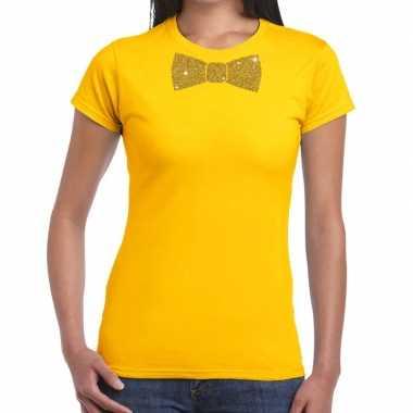 Vlinderdas t shirt geel glitter das dames