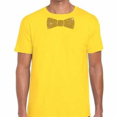 Vlinderdas t shirt geel glitter das heren