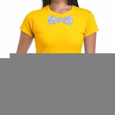 Vlinderdas t shirt geel zilveren glitter strikje dames