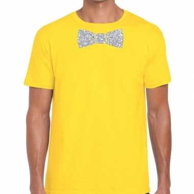 Vlinderdas t shirt geel zilveren glitter strikje heren