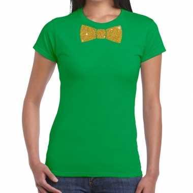 Vlinderdas t shirt groen glitter das dames