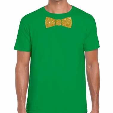 Vlinderdas t shirt groen glitter das heren