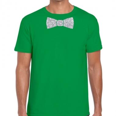 Vlinderdas t shirt groen zilveren glitter strik heren