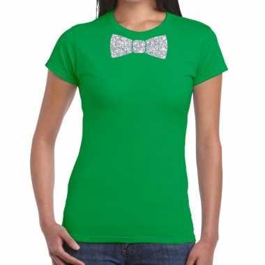 Vlinderdas t shirt groen zilveren glitter strikje dames