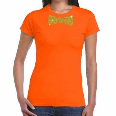 Vlinderdas t shirt oranje glitter das dames