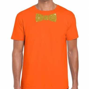 Vlinderdas t shirt oranje glitter das heren