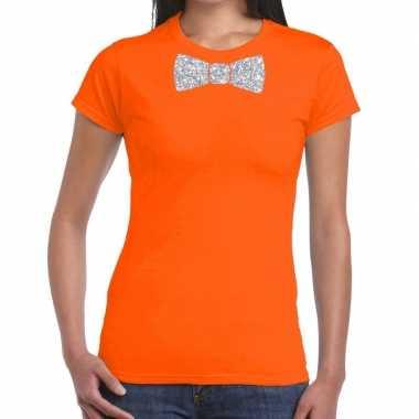 Vlinderdas t shirt oranje zilveren glitter strikje dames