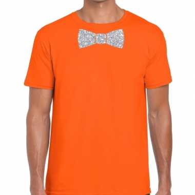 Vlinderdas t shirt oranje zilveren glitter strikje heren