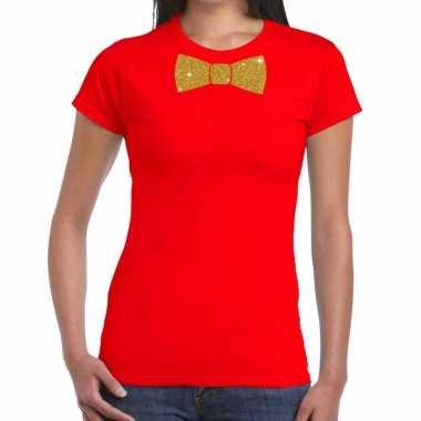 Vlinderdas t shirt rood glitter das dames