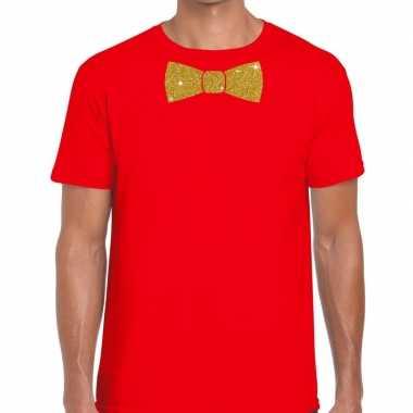 Vlinderdas t shirt rood glitter das heren