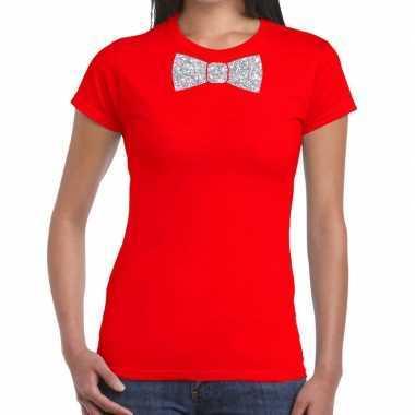 Vlinderdas t shirt rood zilveren glitter strikje dames