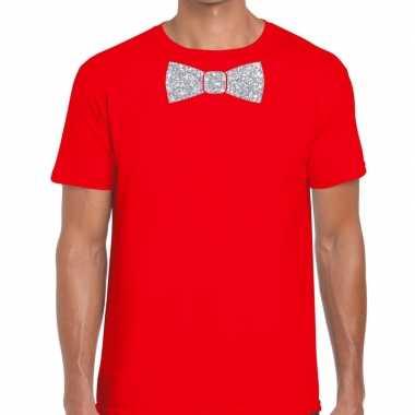 Vlinderdas t shirt rood zilveren glitter strikje heren