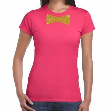 Vlinderdas t shirt roze glitter das dames