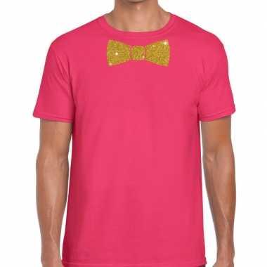Vlinderdas t shirt roze glitter das heren
