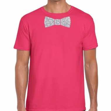 Vlinderdas t shirt roze zilveren glitter strikje heren