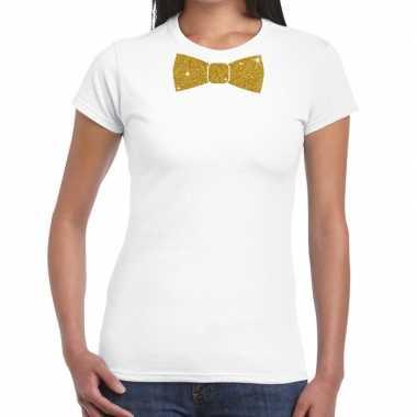 Vlinderdas t shirt wit glitter das dames