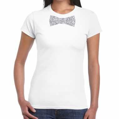 Vlinderdas t shirt wit zilveren glitter strikje dames
