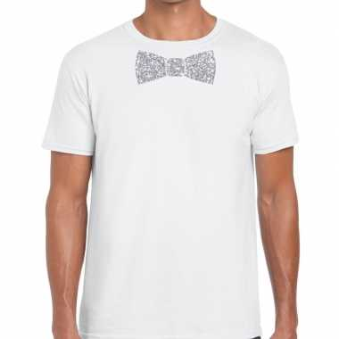 Vlinderdas t shirt wit zilveren glitter strikje heren