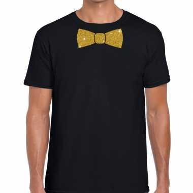 Vlinderdas t shirt zwart glitter das heren