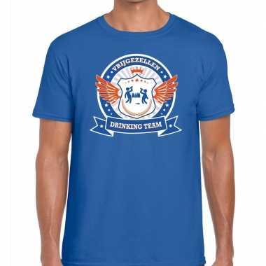 Vrijgezellenfeest blauw oranje drinking team t shirt blauw heren