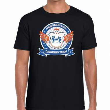 Vrijgezellenfeest blauw oranje drinking team t shirt zwart heren