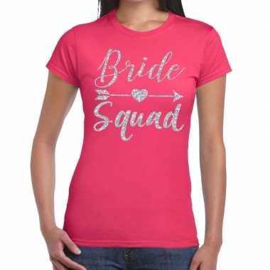Vrijgezellenfeest bride squad zilveren letters t shirt roze dames
