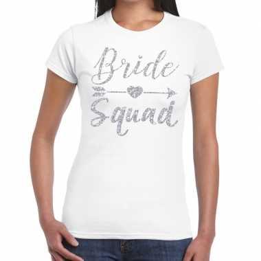 Vrijgezellenfeest bride squad zilveren letters t shirt wit dames