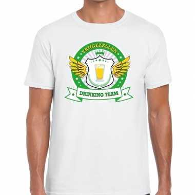 Vrijgezellenfeest groen geel drinking team t shirt wit heren