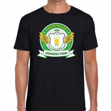Vrijgezellenfeest groen geel drinking team t shirt zwart heren