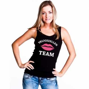 Vrijgezellenfeest team mouwloos shirt zwart dames
