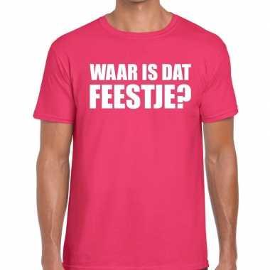 Waar is dat feestje fun t shirt heren roze