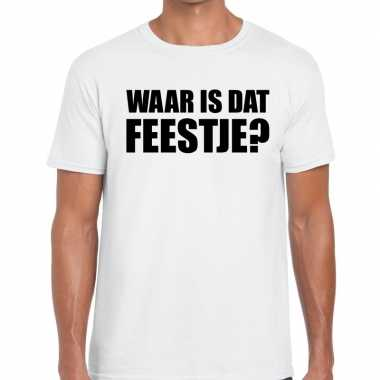 Waar is dat feestje fun t shirt heren wit
