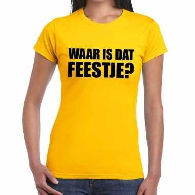 Waar is dat feestje? geel shirt dames