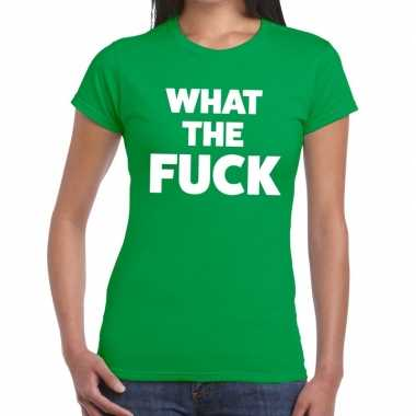 What the fuck fun t shirt groen dames