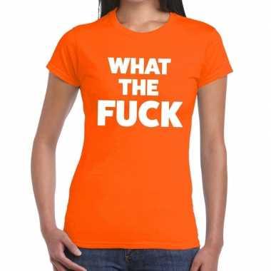 What the fuck fun t shirt oranje dames