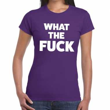 What the fuck fun t shirt paars dames