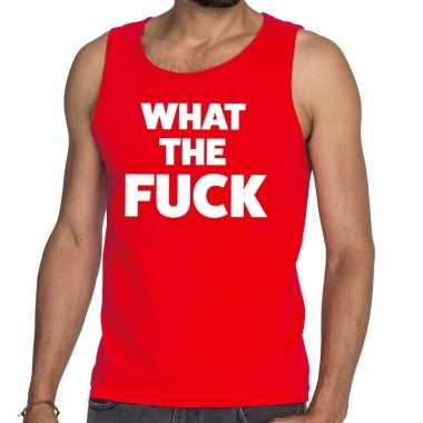 What the fuck fun tanktop / mouwloos shirt rood heren