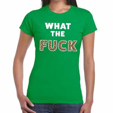 What the fuck tijger print fun t shirt groen dames
