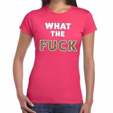 What the fuck tijger print fun t shirt roze dames