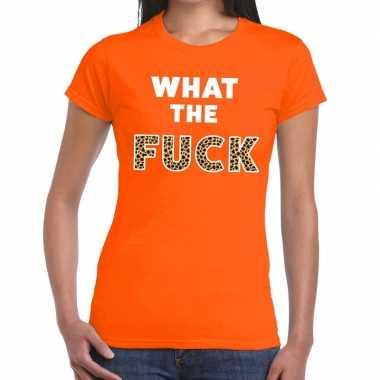 What the fuck tijgerprint fun t shirt oranje dames
