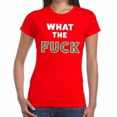 What the fuck tijgerprint fun t shirt rood dames