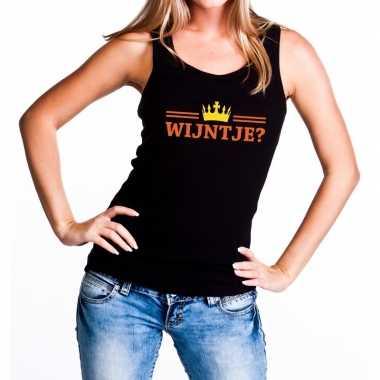 Wijntje tanktop / mouwloos shirt zwart dames