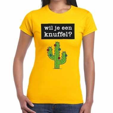 Wil je een knuffel fun t shirt geel dames
