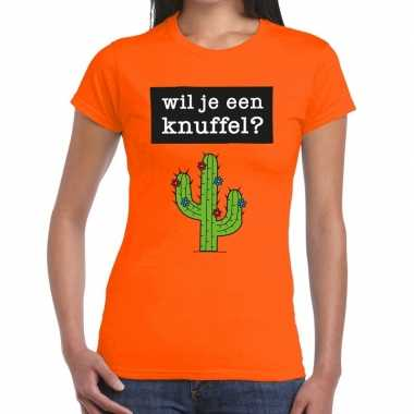 Wil je een knuffel fun t shirt oranje dames